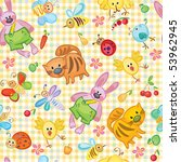 cute seamless animal's pattern... | Shutterstock .eps vector #53962945