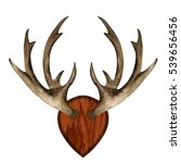 watercolor antlers on wooden... | Shutterstock . vector #539656456