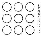 set hand drawn ovals  circle ... | Shutterstock .eps vector #539672776