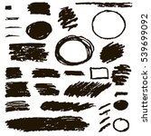 set of hand drawn black grunge... | Shutterstock .eps vector #539699092
