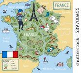 cartoon map of france   Shutterstock .eps vector #539700655