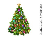 christmas tree with colorful... | Shutterstock . vector #539705488