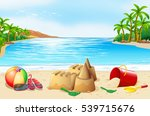 beach scene with sand castle... | Shutterstock .eps vector #539715676