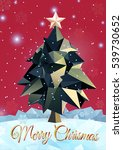 low poly christmas tree on... | Shutterstock .eps vector #539730652