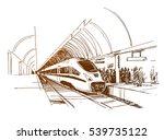 modern fast passenger train at... | Shutterstock .eps vector #539735122