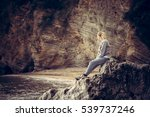 pensive lonely young woman... | Shutterstock . vector #539737246