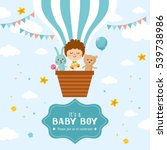 baby boy  hare and teddy bear... | Shutterstock .eps vector #539738986