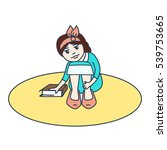 contour girl with a book  the...   Shutterstock .eps vector #539753665