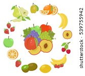 fruit collage on new year's... | Shutterstock .eps vector #539755942