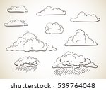 set of hand drawn clouds vector ... | Shutterstock .eps vector #539764048