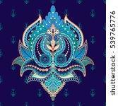 oriental flower with indian... | Shutterstock .eps vector #539765776