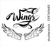 angel wings vector  lettering ... | Shutterstock .eps vector #539769685