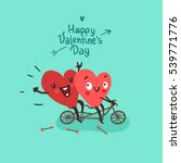 Two happy hearts in love biking. Happy Valentine's day Card | Shutterstock vector #539771776