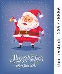 santa claus ringing bell merry...   Shutterstock . vector #539778886