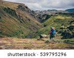girl hiking iceland on the... | Shutterstock . vector #539795296
