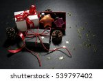 christmas presents with baubles ... | Shutterstock . vector #539797402