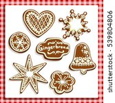 christmas gingerbread cookies... | Shutterstock .eps vector #539804806