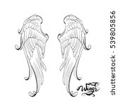 angel wings vector  lettering ... | Shutterstock .eps vector #539805856