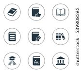 set of 9 simple knowledge icons.... | Shutterstock .eps vector #539808262