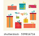 cute gifts flat illustration.... | Shutterstock .eps vector #539816716