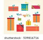 cute gifts flat illustration.... | Shutterstock .eps vector #539816716