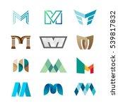 letter m logo set. color icon...
