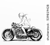 cute girl riding motorcycle in... | Shutterstock . vector #539819428