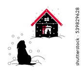 a homeless puppy in the winter... | Shutterstock .eps vector #539829628