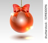 Glass Christmas Ball With Red...