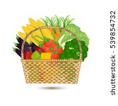 wicker basket and fresh logo... | Shutterstock .eps vector #539854732