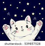 Stock vector cute cat sketch vector illustration print design cat children print on t shirt hand drawn vector 539857528
