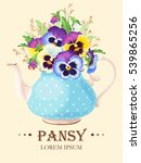 greeting card with pansies | Shutterstock .eps vector #539865256