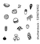 black and white foods doodle art | Shutterstock .eps vector #539876902