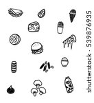 black and white foods doodle art | Shutterstock .eps vector #539876935