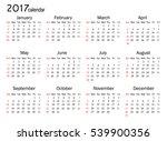 calendar for 2017 year on white ... | Shutterstock .eps vector #539900356