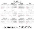calendar for 2017 year on white ... | Shutterstock .eps vector #539900506