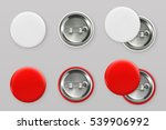 Blank white and red badges. Pin button. 3d vector realistic mockup | Shutterstock vector #539906992