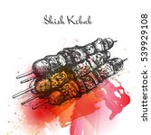 shish kebab watercolor effect... | Shutterstock .eps vector #539929108