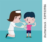 boy happy while the nurses was... | Shutterstock .eps vector #539933986
