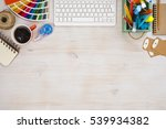 designer workspace top view... | Shutterstock . vector #539934382