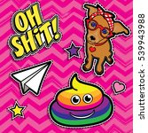 pop art fashion chic patches ... | Shutterstock .eps vector #539943988