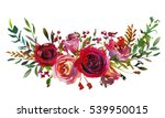 Stock photo red and coral roses leaves hand painted watercolor landscape bouquet isolated on white background 539950015