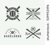 vintage baseball logos  emblems ... | Shutterstock .eps vector #539952496