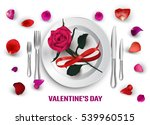 plate and cutlery  rose  petals.... | Shutterstock .eps vector #539960515