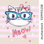 cute cat sketch vector... | Shutterstock .eps vector #539992108