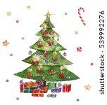 watercolor christmas... | Shutterstock . vector #539992276
