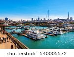 Small photo of SAN FRANCISCO, CA - SEPTEMBER 20, 2015: Yachts docked at Pier 39 Marina in San Francisco with city skyline in background. Pier 39 Marina features boat slips and provides guest docking and slip rental.