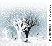 winter forest with falling... | Shutterstock .eps vector #540017932