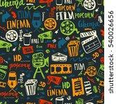 cinema hand drawn seamless... | Shutterstock . vector #540026656