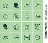 set of 16 eco friendly icons.... | Shutterstock .eps vector #540031312